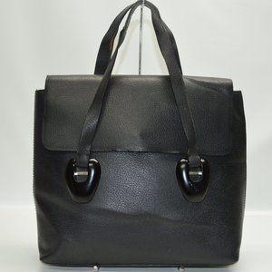 Gucci Vintage Large Black Leather Flap Satchel